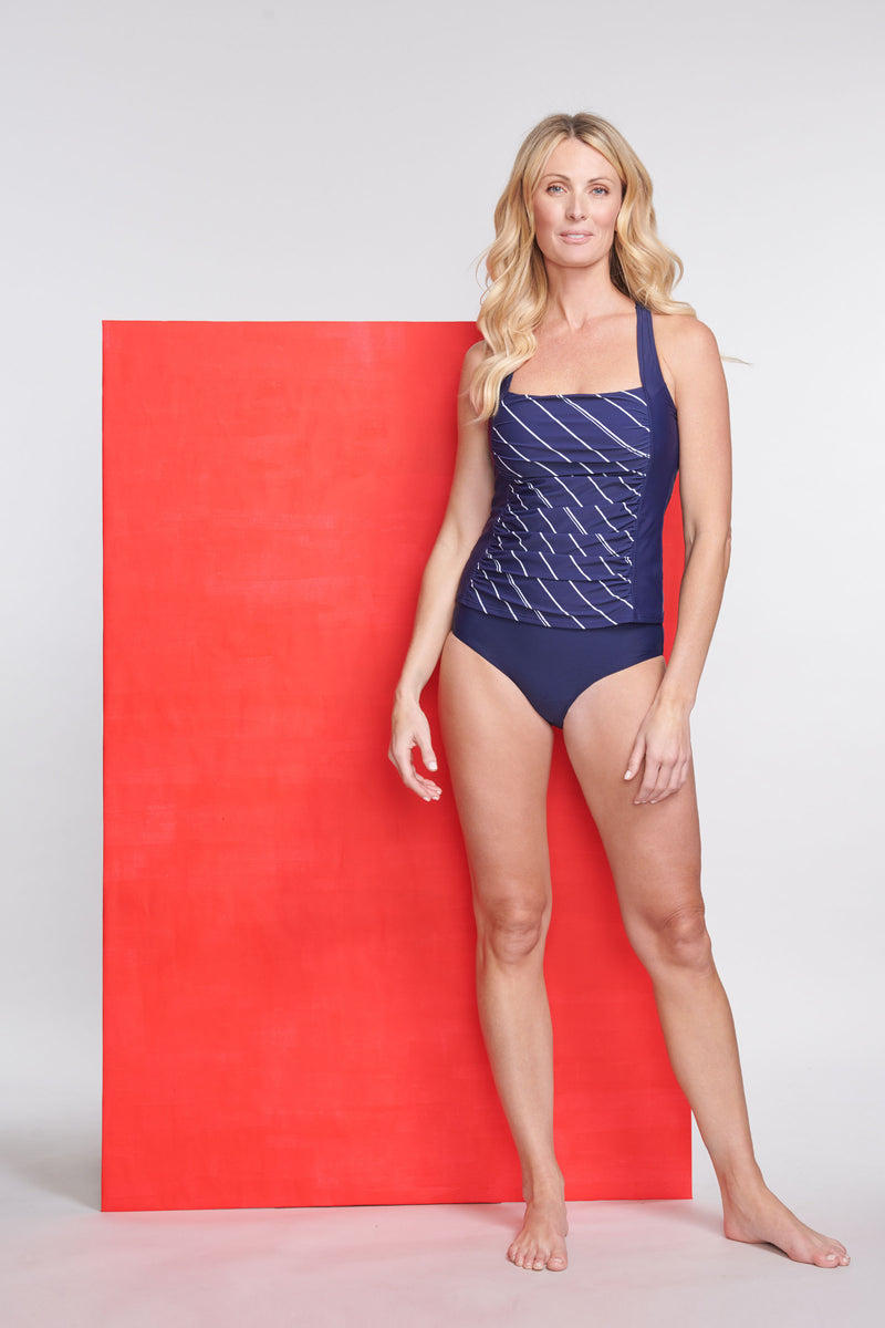 Square Neck Ruched Underwire Tankini Top in Tie Stripe