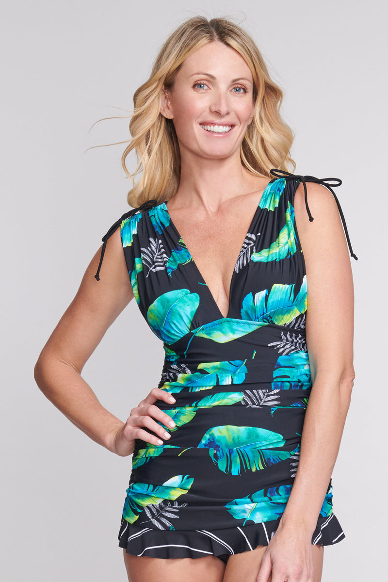 Grecian Skater Ruched One Piece Swimdress in Floating Leaf