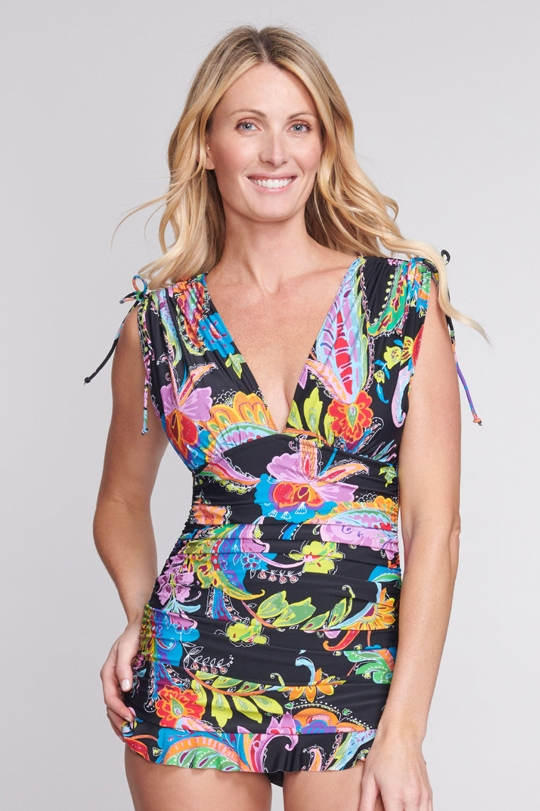 Grecian Skater Ruched One Piece Swimdress in Floral Paisley Black
