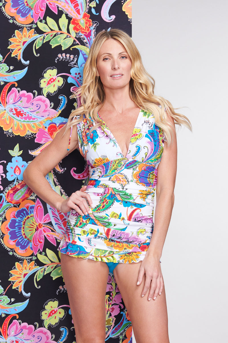Grecian Skater Ruched One Piece Swimdress in Floral Paisley White