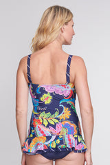 Shirred One Piece Skater Swimdress in Floral Paisley