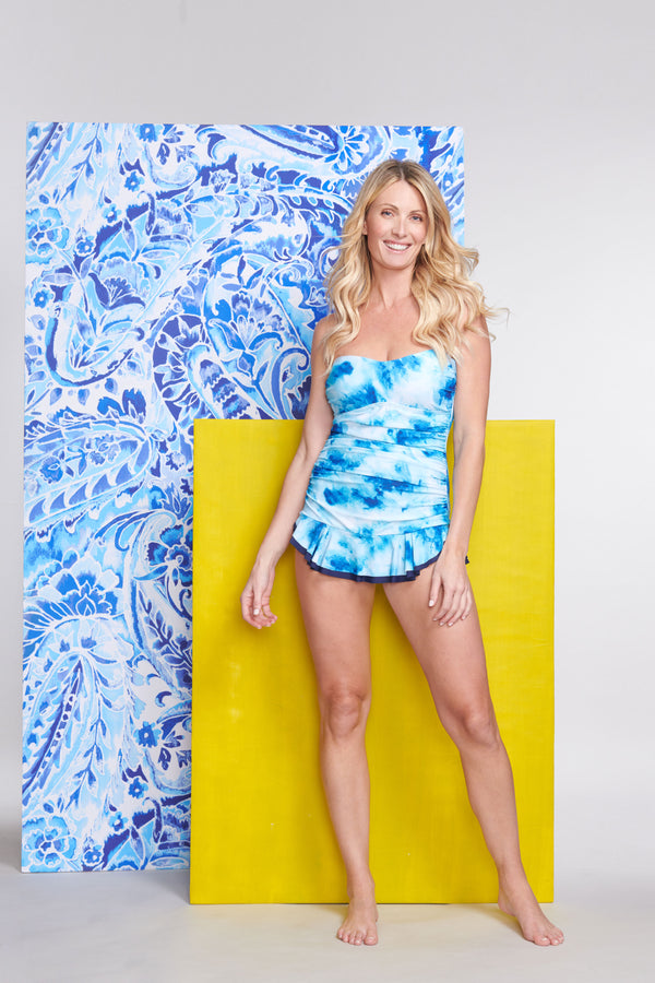 Shirred One Piece Skater Swimdress in Ocean Tie Dye