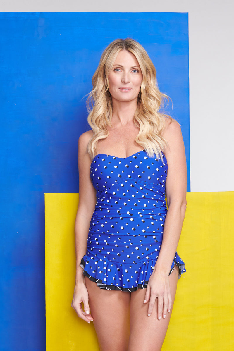 Shirred One Piece Skater Swimdress in Shadow Dot Cobalt