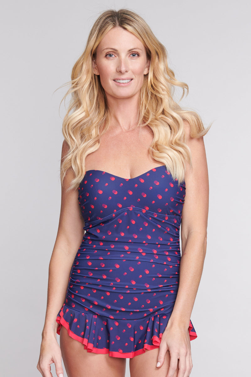 Shirred One Piece Skater Swimdress in Shadow Dot Navy