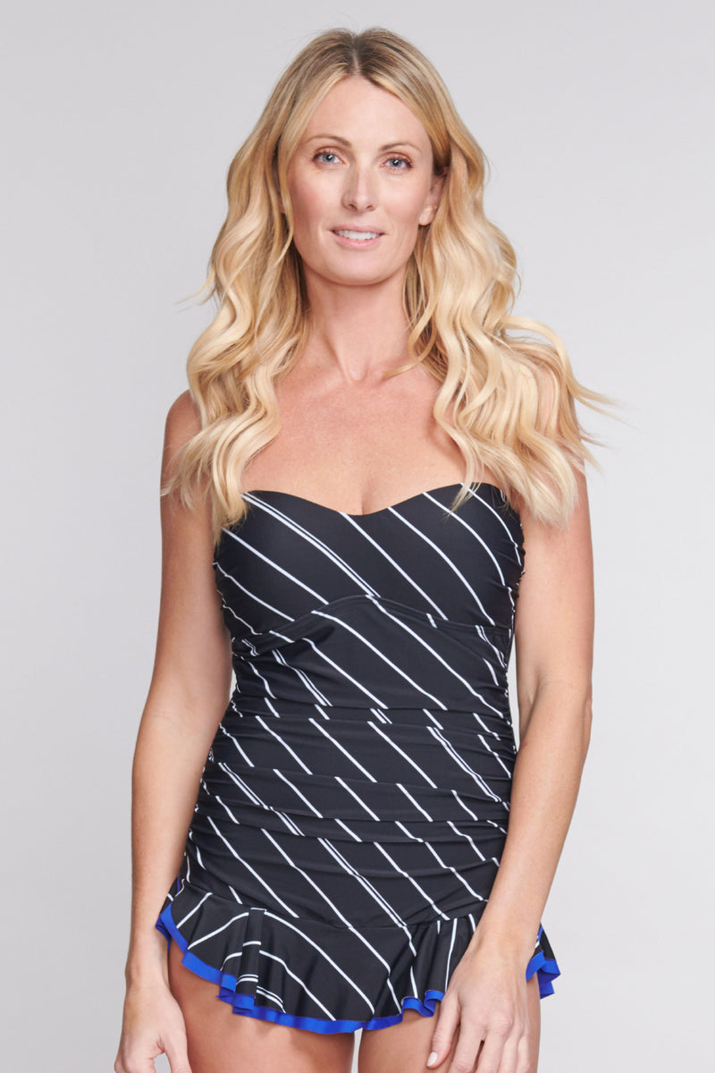 Shirred One Piece Skater Swimdress in Tie Stripe Black