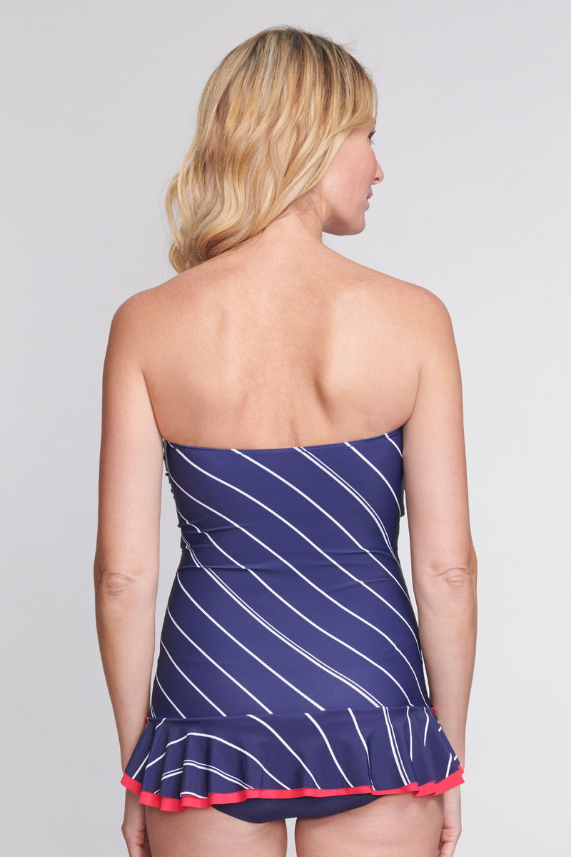 Shirred One Piece Skater Swimdress in Tie Stripe Navy