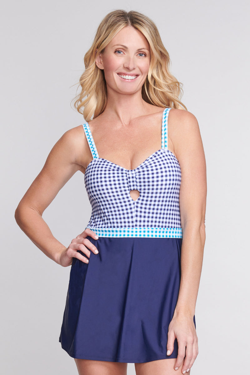 Keyhole Pleated One Piece Swimdress in Gingham
