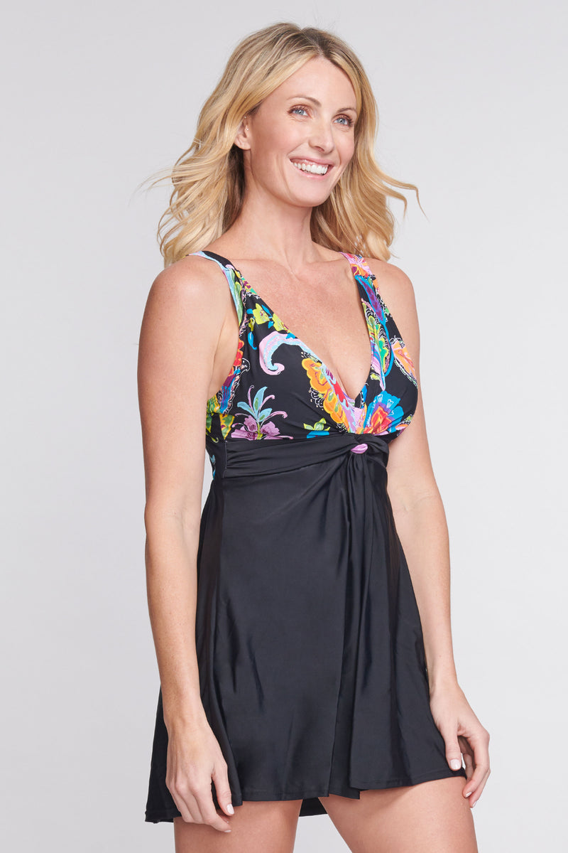 Twist Knot One Piece Swimdress in Floral Paisley