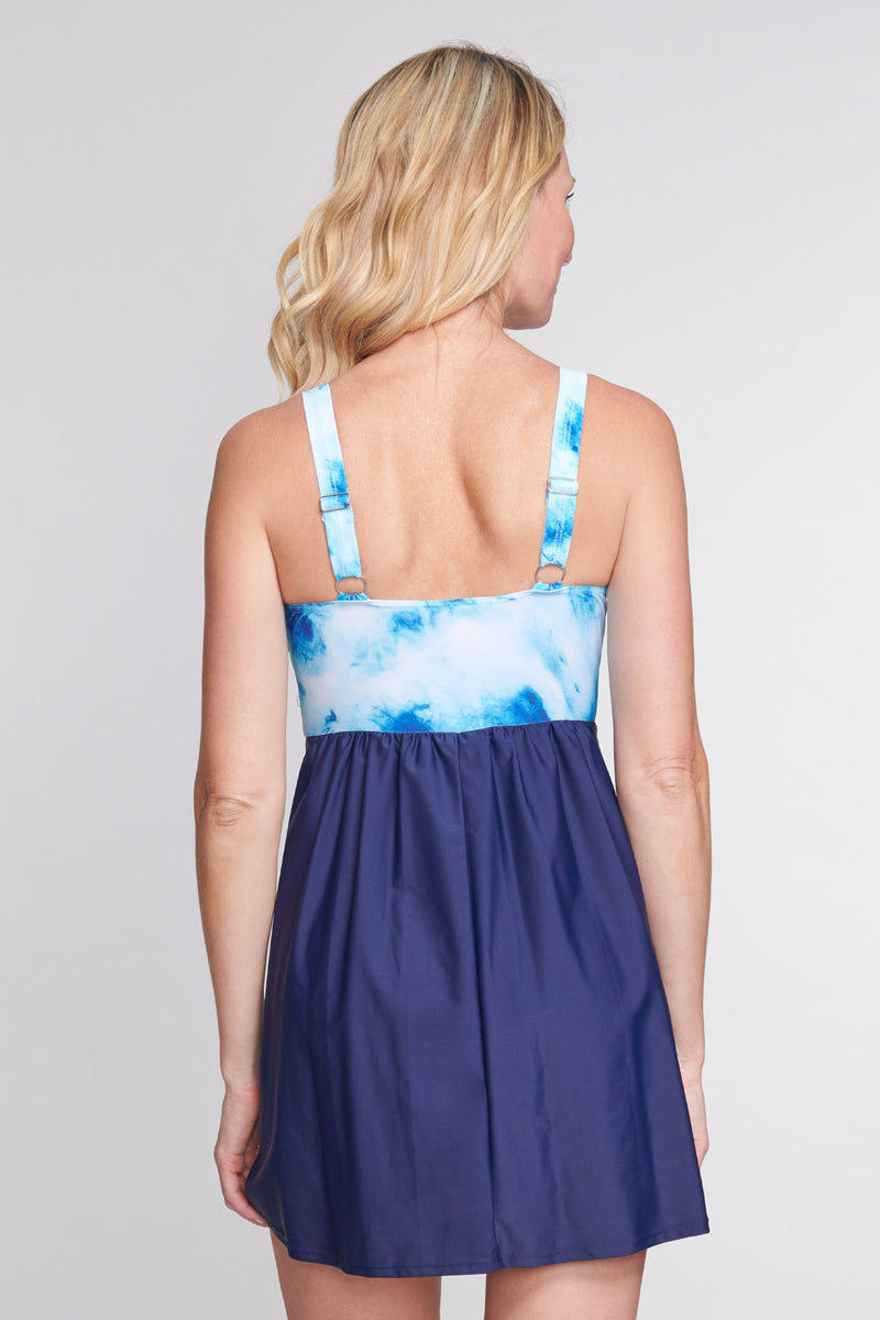 Twist Knot One Piece Swimdress in Ocean Tie Dye