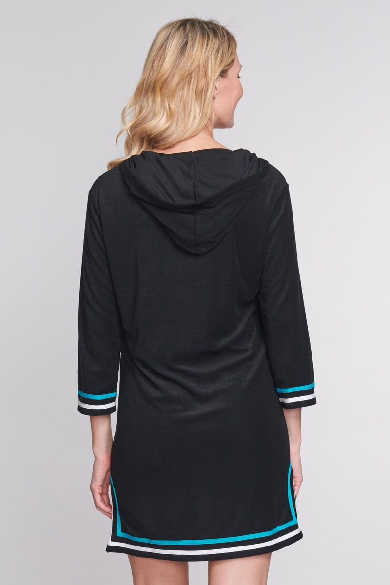 Zip-up Hooded Terry Cloth Coverup in Solid Black