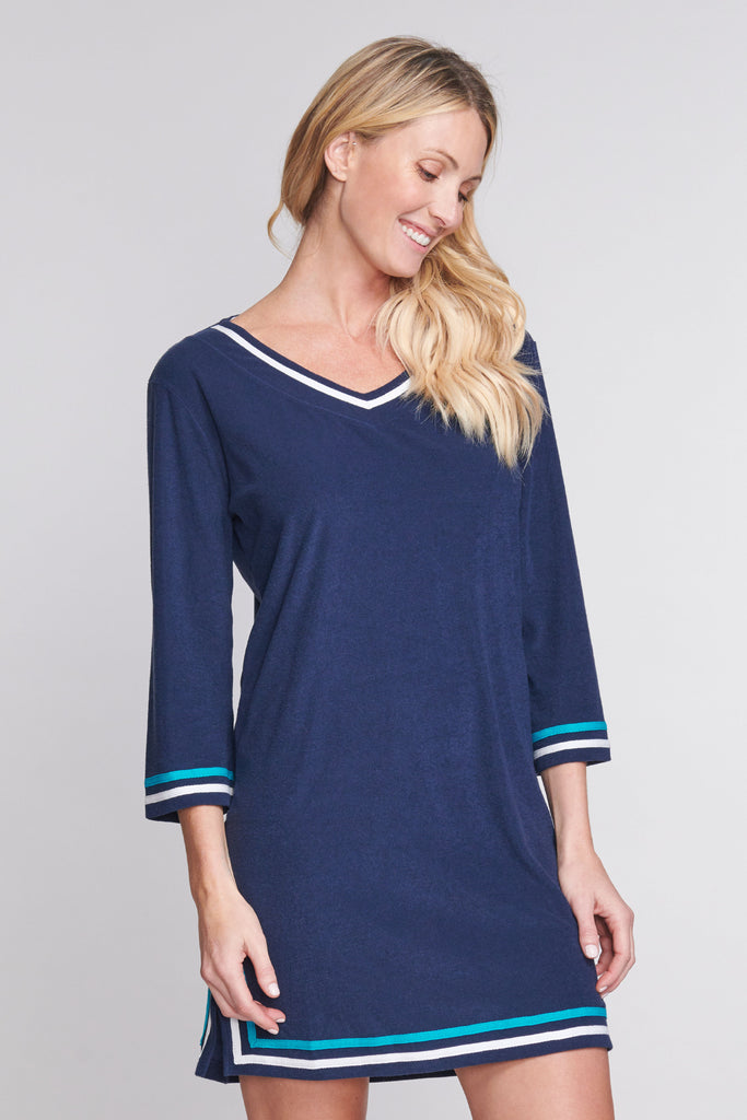 3/4 Sleeve Terry Cloth Coverup in Solid Navy