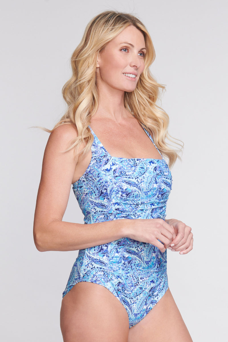 Square Neck Ruched Underwire One Piece in Watercolor Paisley