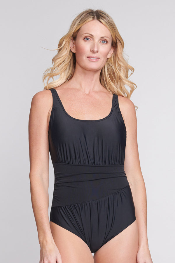 Underwire Ruched Wrap Effect One Piece in Solid Black