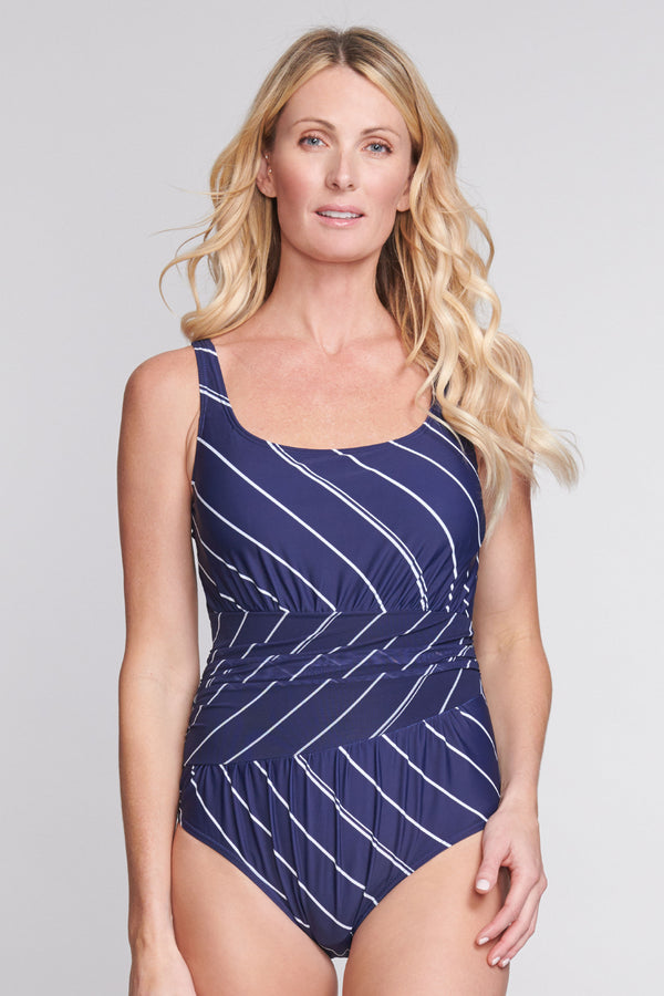 Underwire Ruched Wrap Effect One Piece in Tie Stripe