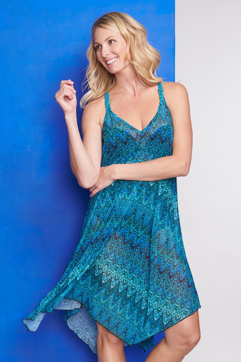 Mid Length Flowy Mesh Coverup Tank Dress in Illusion