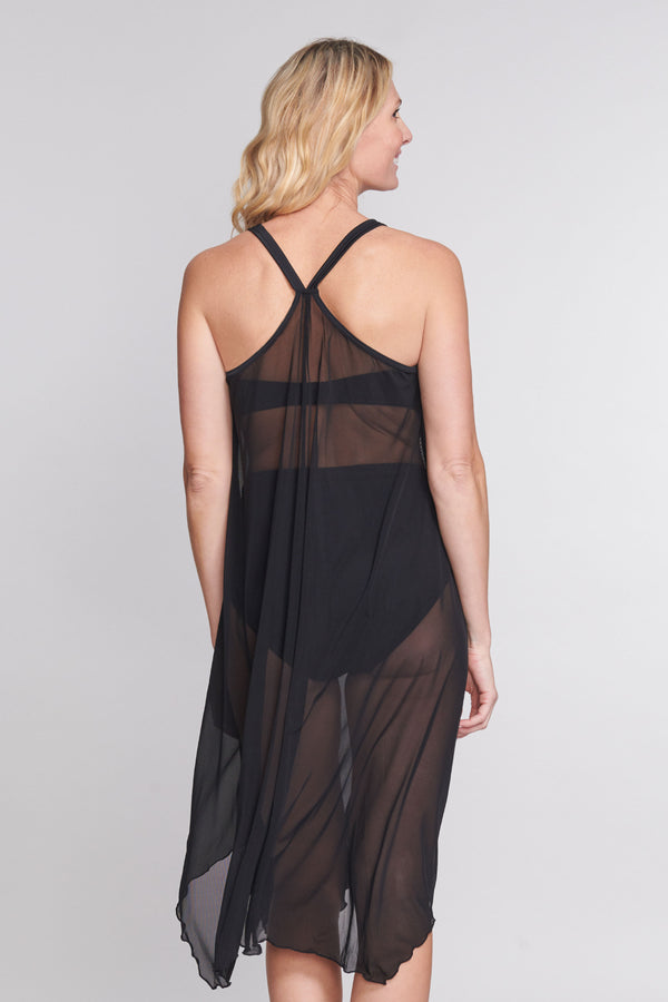 Mid Length Flowy Mesh Coverup Tank Dress in Solid Black
