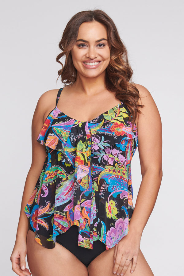 Plus Size Draped Tier Mesh Tankini Top in Floral Paisley