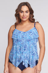 Plus Size Draped Tier Mesh Tankini Top in Watercolor Paisley