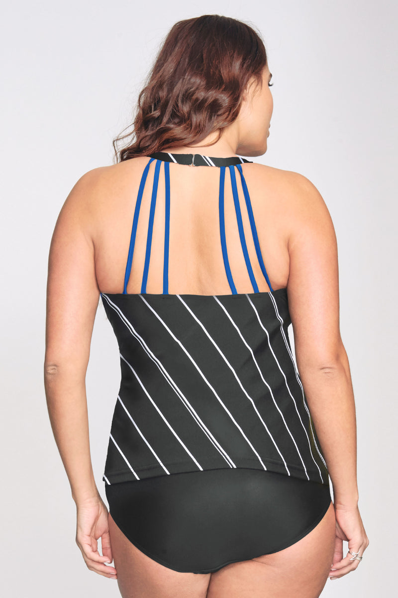 Plus Size Mesh Keyhole High Neckline Tankini Top in Tie Stripe