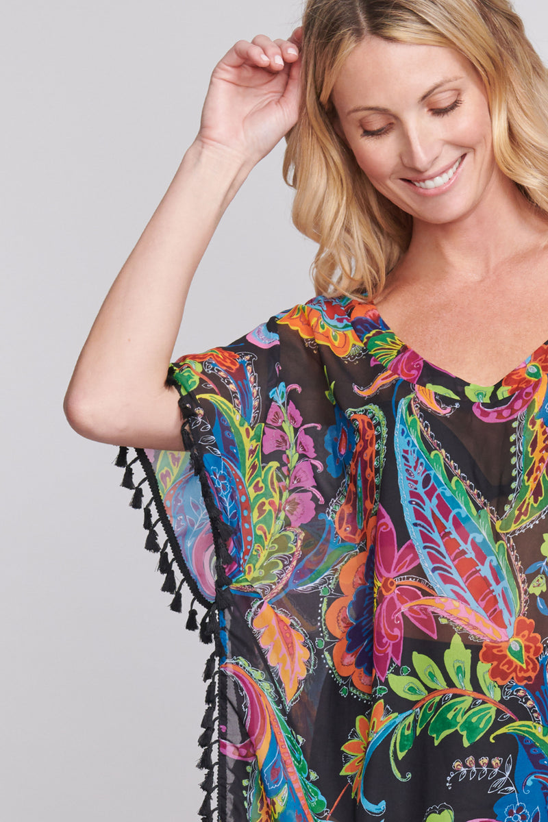 Plus Kaftan Coverup with Tassel Trim in Floral Paisley
