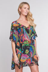 Kaftan Coverup with Tassel Trim in Floral Paisley
