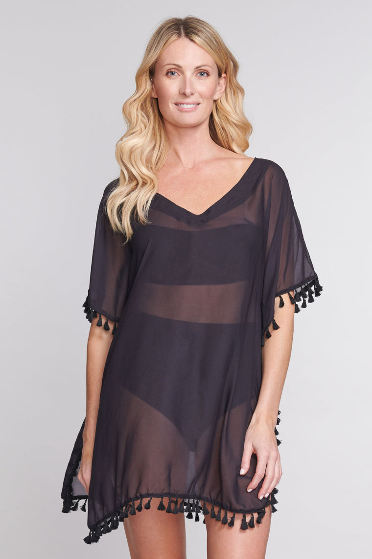 Kaftan Coverup with Tassel Trim in Solid Black