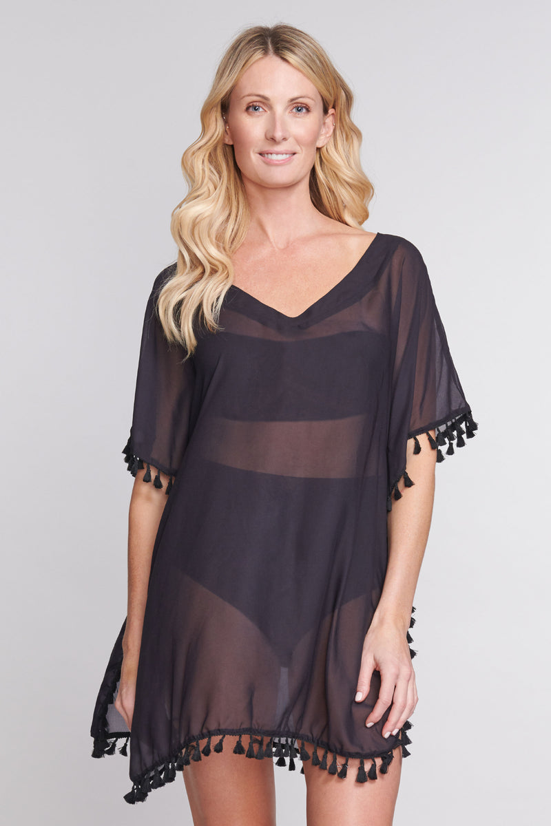 Plus Kaftan Coverup with Tassel Trim in Solid Black