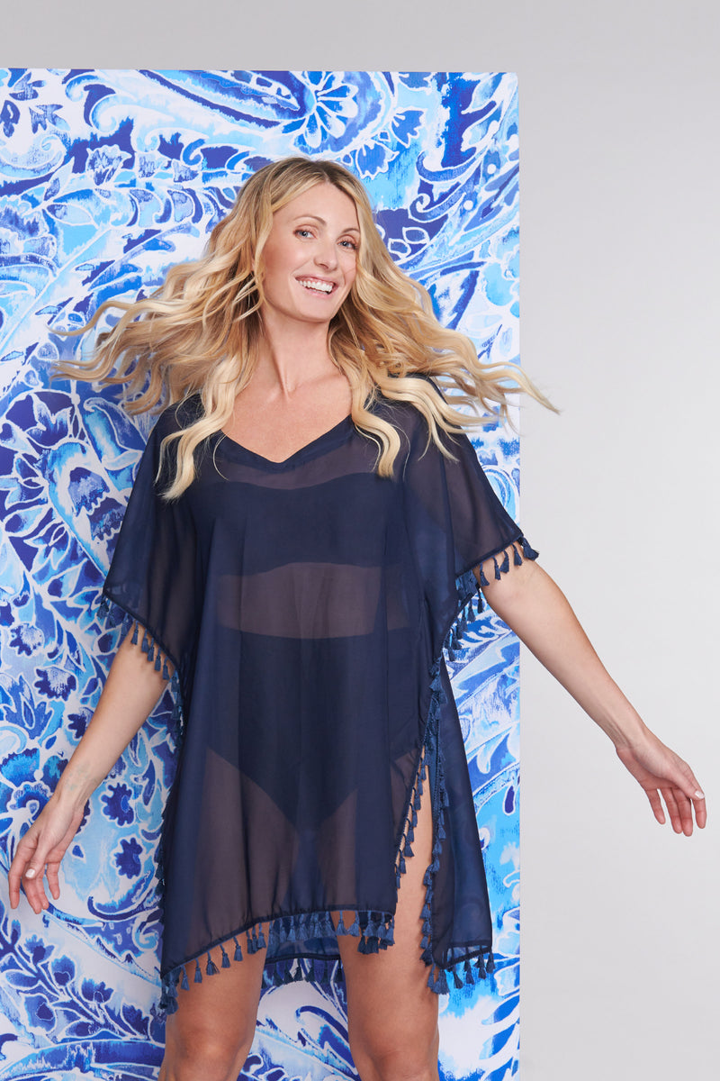 Plus Kaftan Coverup with Tassel Trim in Solid Navy