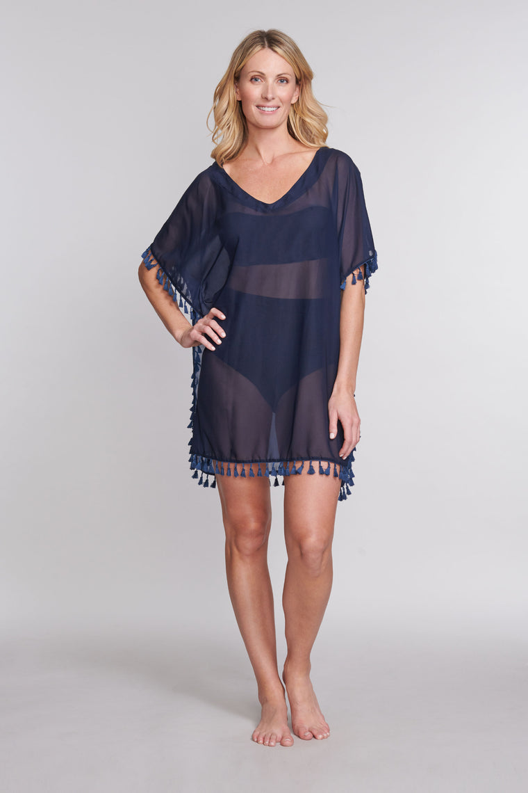 Kaftan Coverup with Tassel Trim in Solid Navy