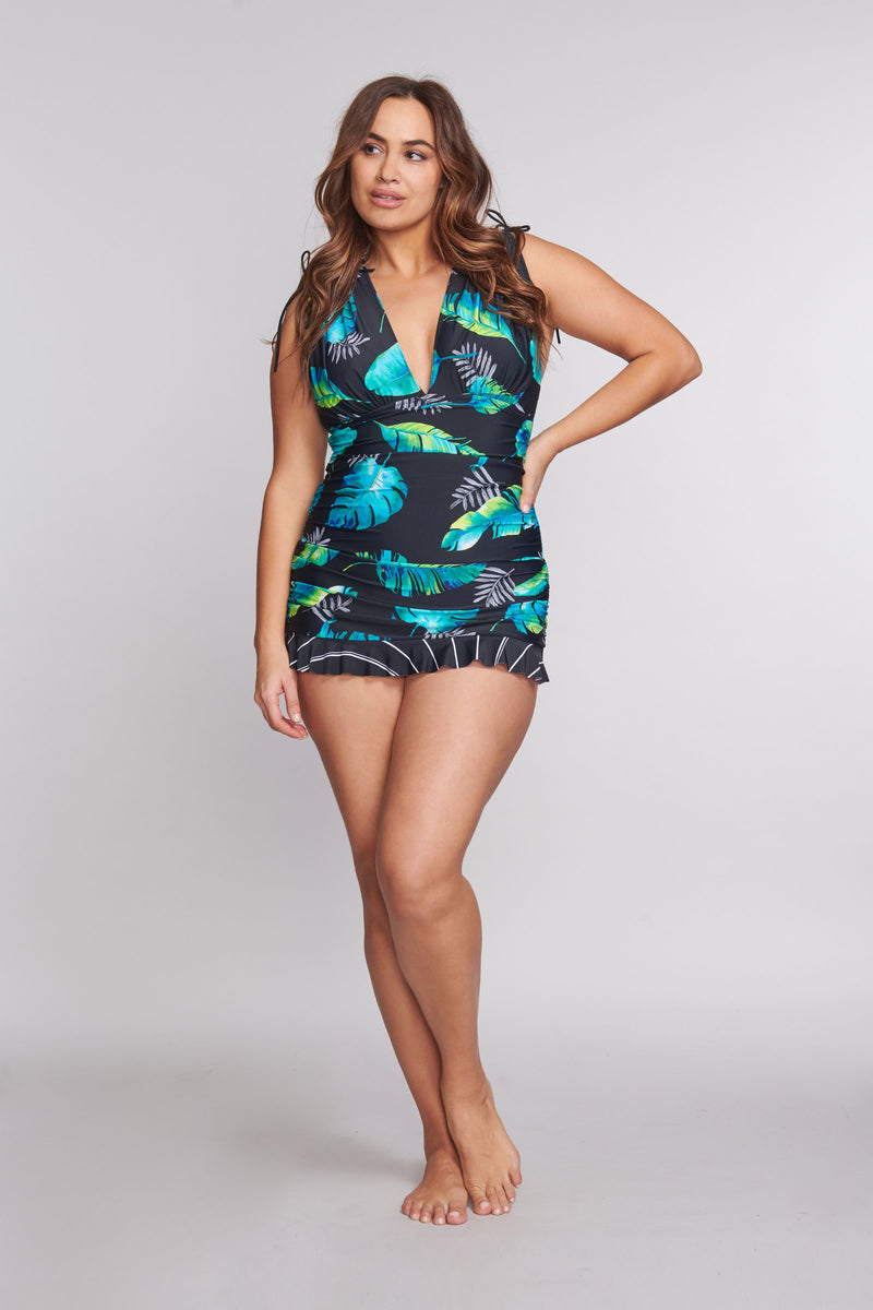 Plus Size Grecian Skater Ruched One Piece Swimdress in Floating Leaf
