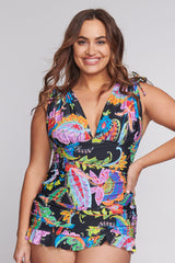 Plus Size Grecian Skater Ruched One Piece Swimdress in Floral Paisley