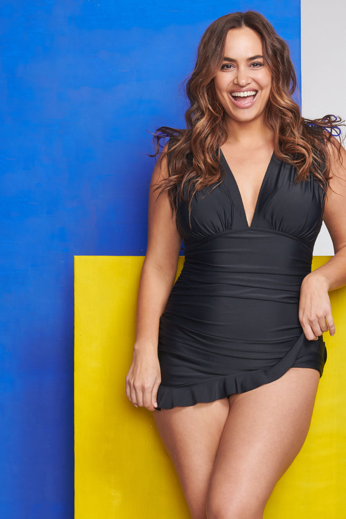 Plus Size Grecian Skater Ruched One Piece Swimdress in Solid Black