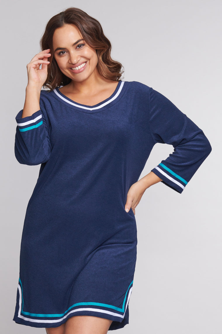 Plus Size 3/4 Sleeve Terry Cloth Coverup in Solid Navy