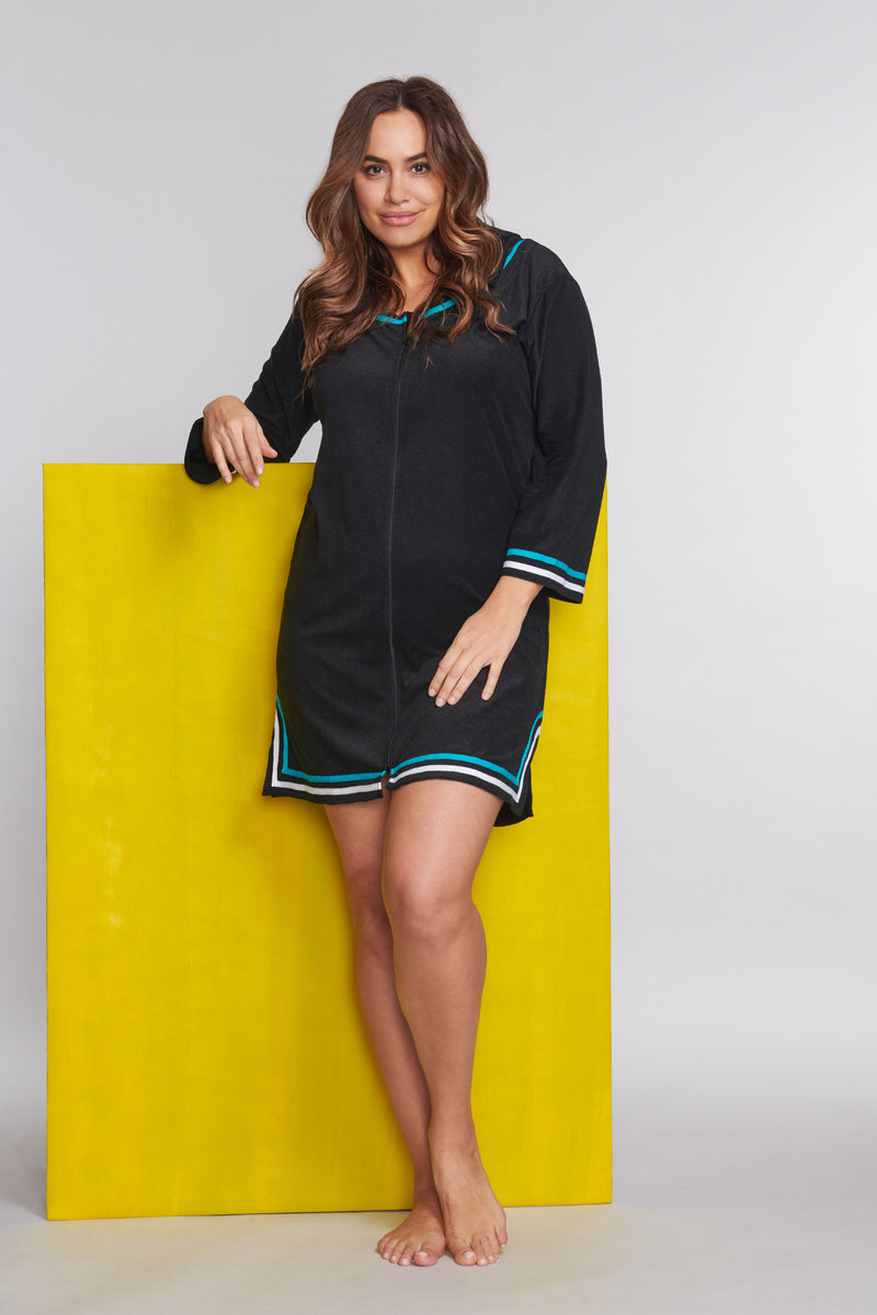 Plus Size Zip-Up Hooded Terry Cloth Coverup in Solid Black