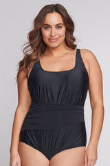Plus Size Underwire Ruched Wrap Effect One Piece in Solid Black