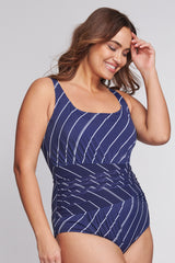 Plus Size Underwire Ruched Wrap Effect One Piece in Tie Stripe