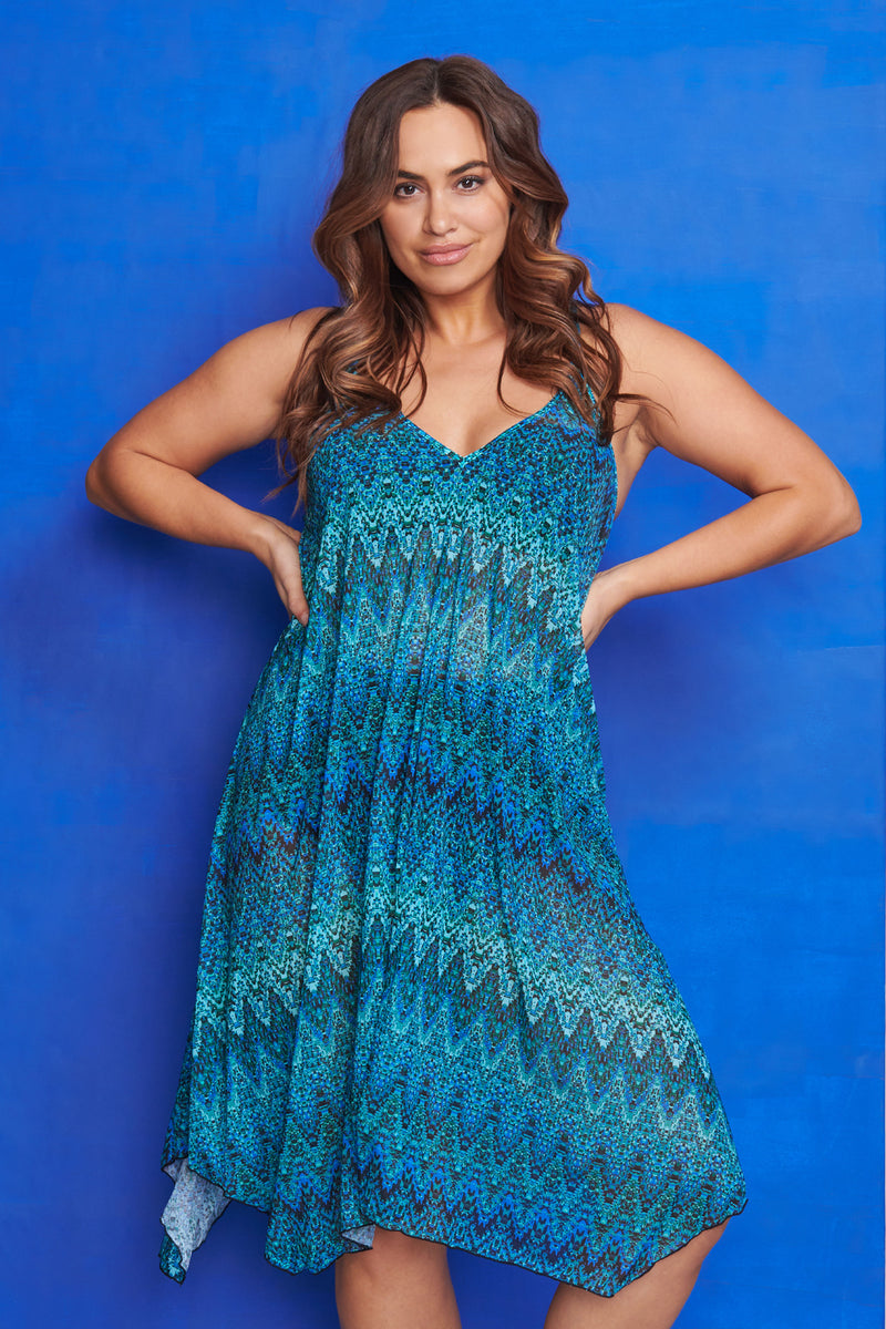 Plus Size Mid Length Flowy Mesh Coverup Tank Dress in Illusion