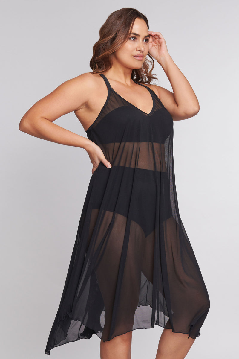 Plus Size Mid Length Flowy Mesh Coverup Tank Dress in Solid Black