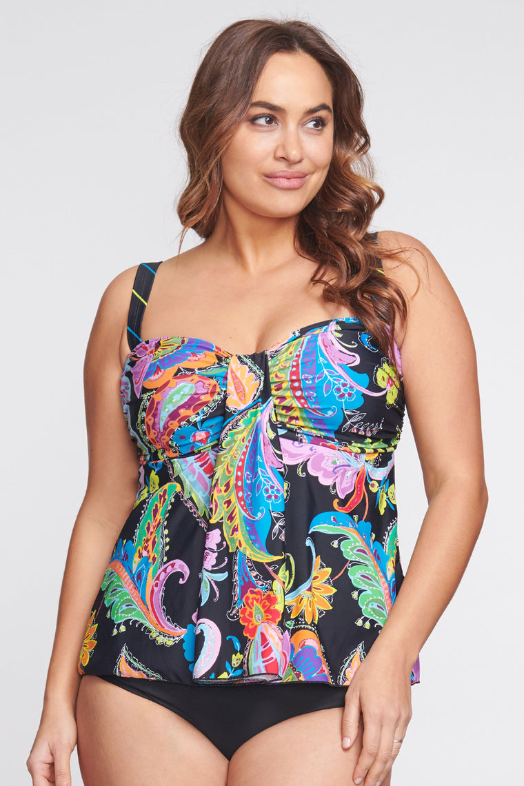 Plus Size Drape Bandeau Tankini Top in Floral Paisley