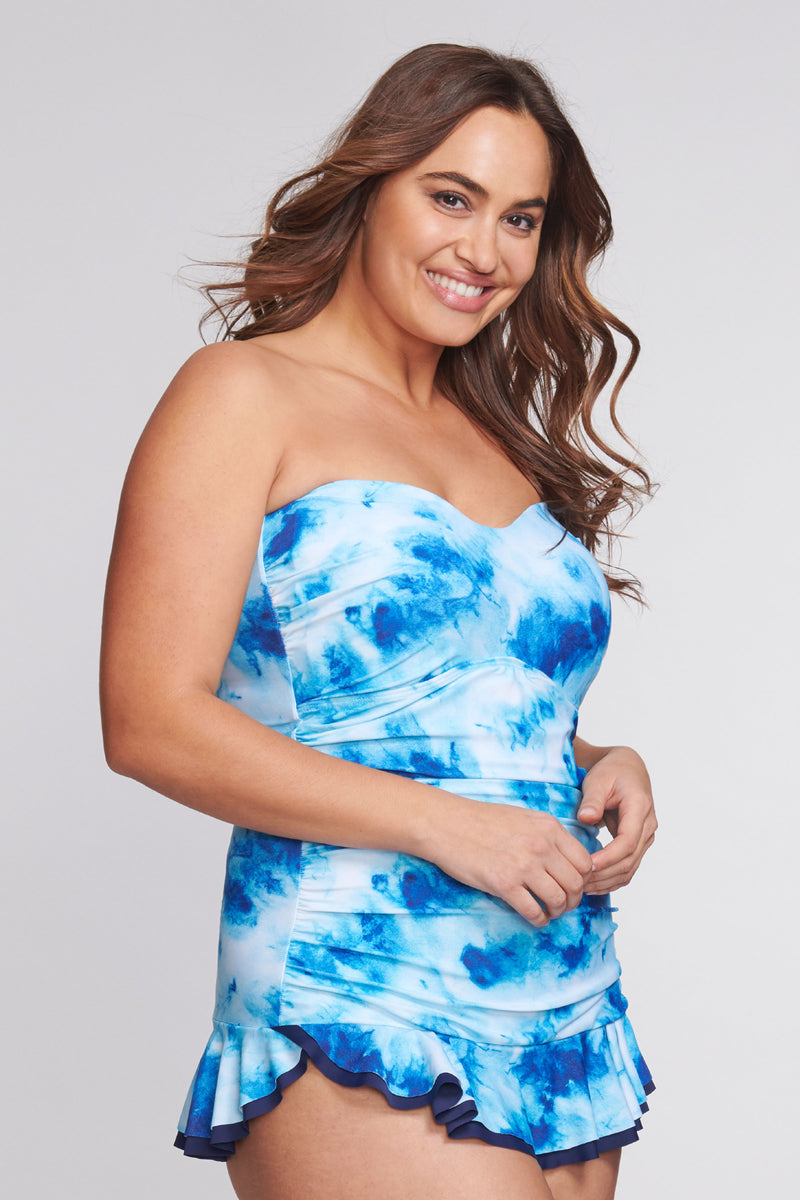 Plus Size Shirred One Piece Skater Swimdress in Ocean Tie Dye