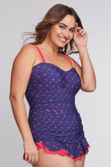 Plus Size Shirred One Piece Skater Swimdress in Shadow Dot