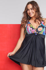 Plus Size Twist Knot One Piece Swimdress in Floral Paisley