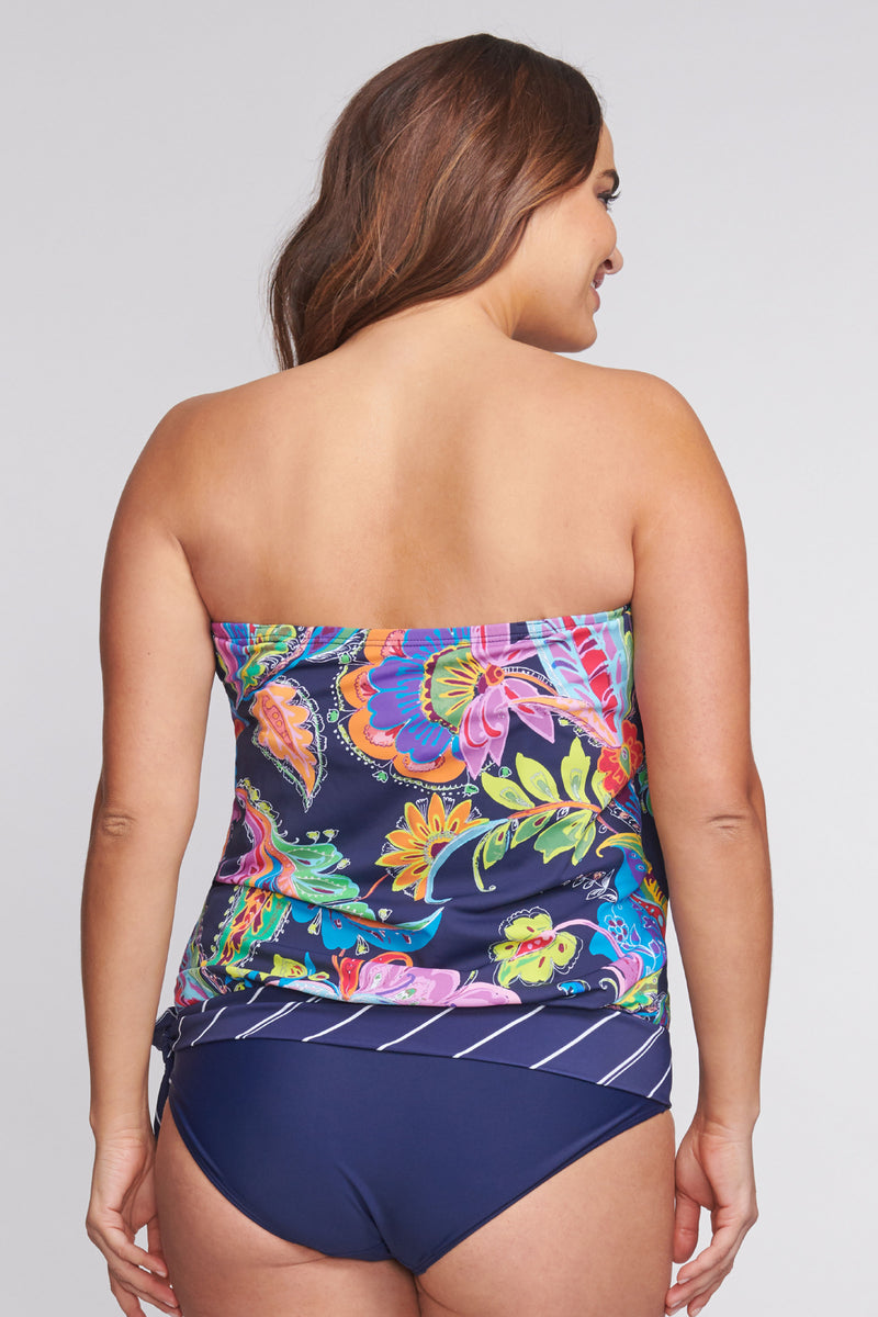 Plus Size Draped Blouson Tankini Top in Floral Paisley
