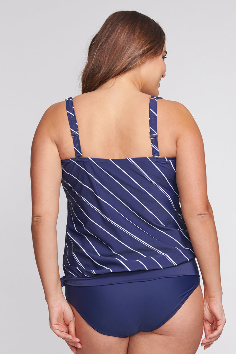 Plus Size Draped Blouson Tankini Top in Tie Stripe