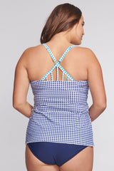 Plus Size Strappy Back Drape Bandeau Tankini Top in Gingham