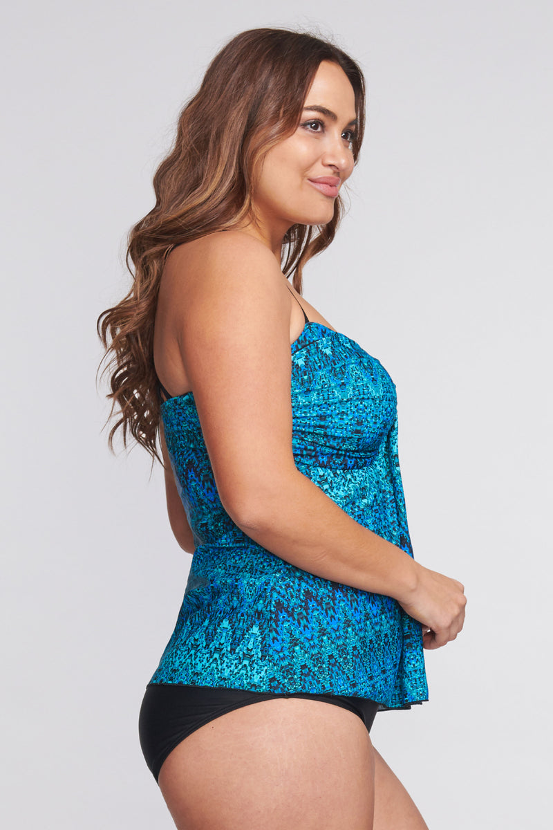 Plus Size Strappy Back Drape Bandeau Tankini Top in Illusion