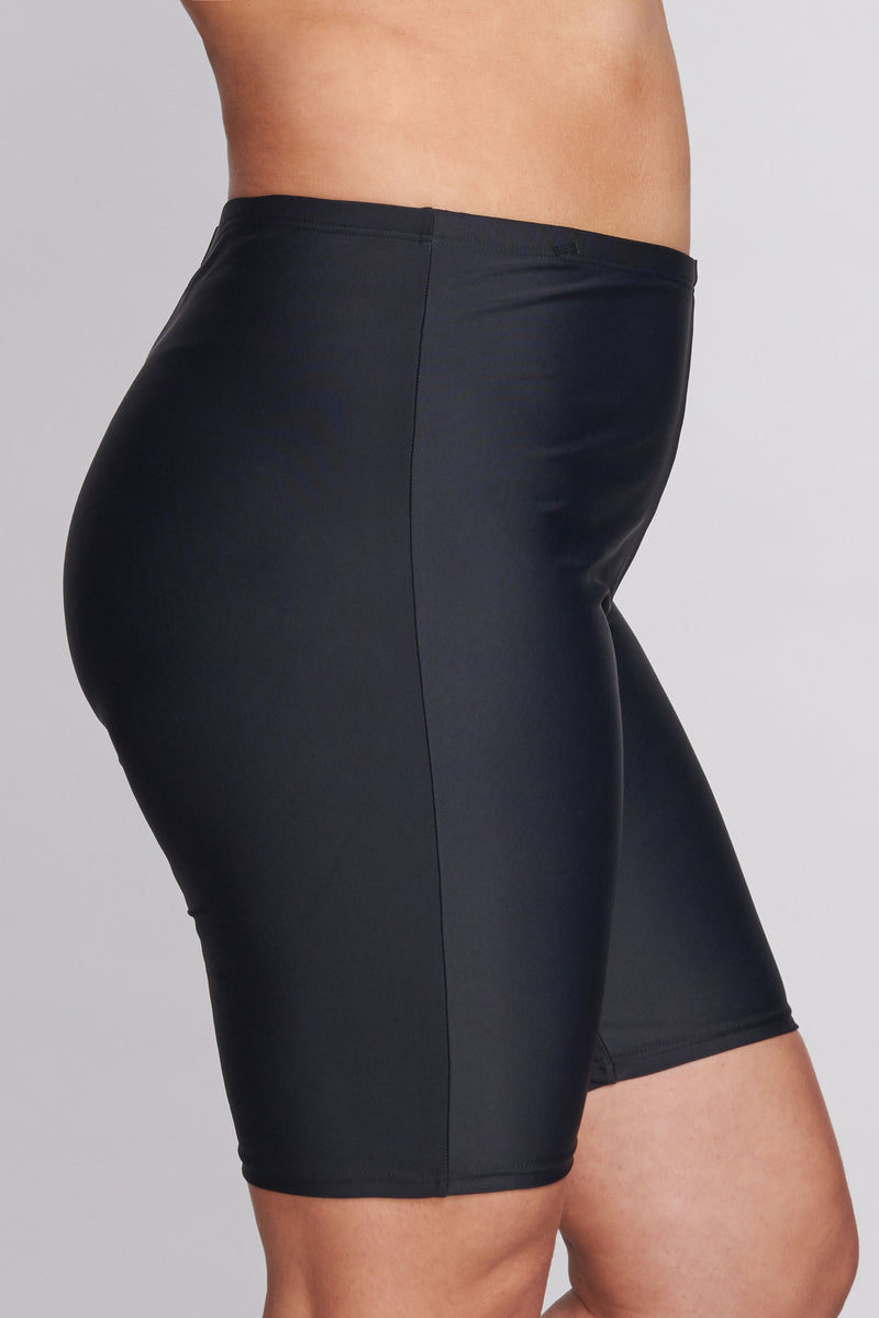 Plus Size Long Length Capri Swim Short in Solid Black