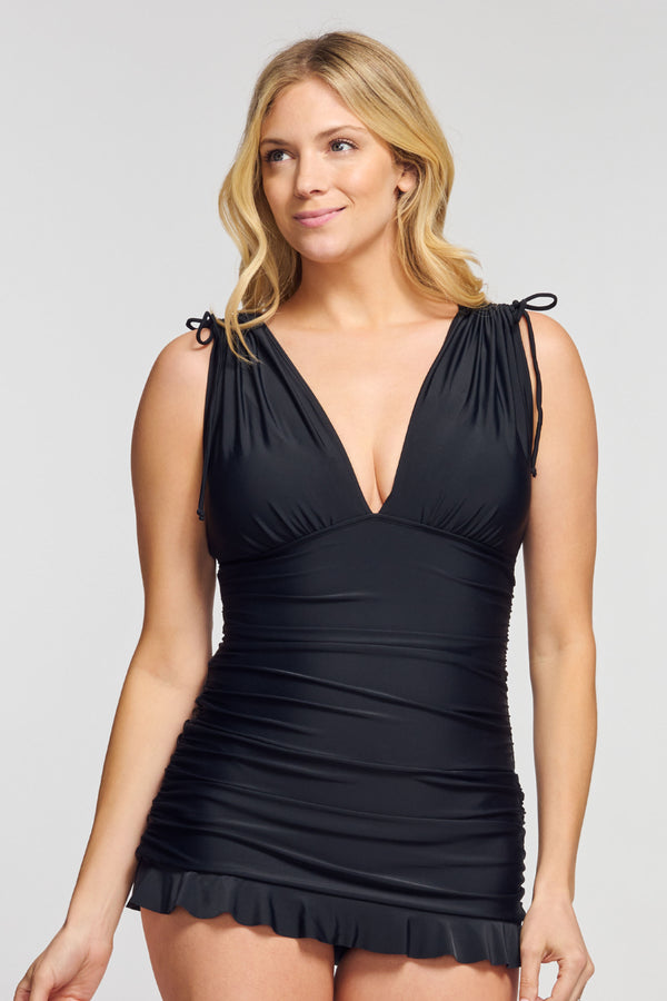 Grecian Skater Ruched One Piece Swimdress in Solid Black