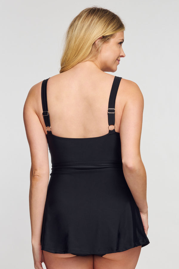 Wrap Swim Dress One Piece in Solid Black