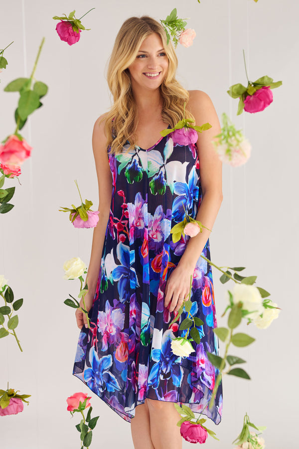 Mid Length Flowy Mesh Coverup Tank Dress in Garden Floral